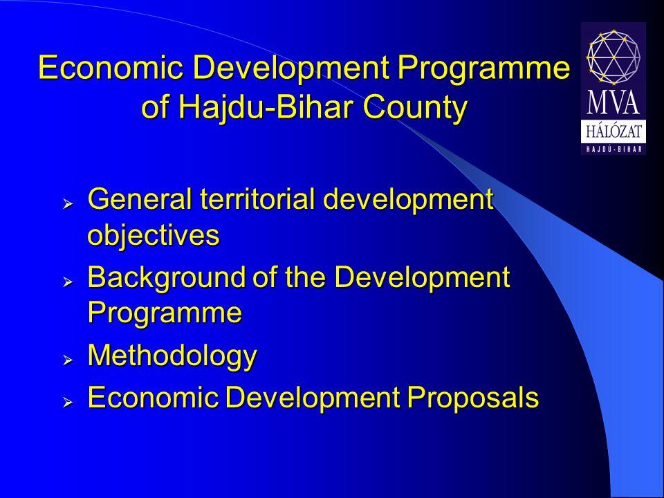 Economic Development Programme of Hajdu-Bihar County  General territorial development objectives  Background of the Development Programme  Methodology  Economic Development Proposals