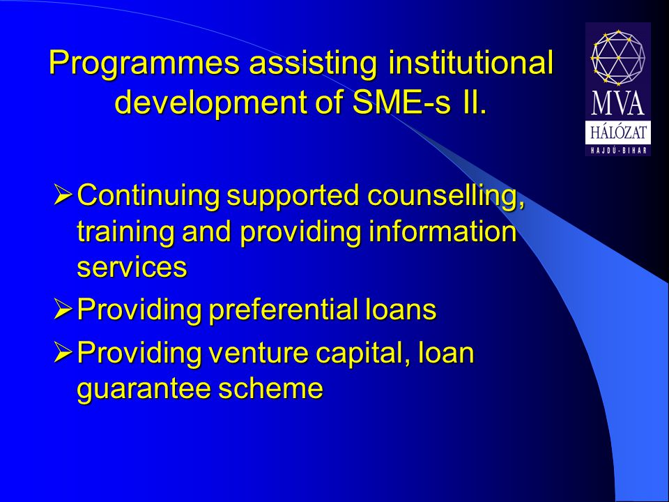 Programmes assisting institutional development of SME-s II.