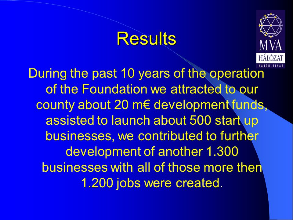 Results During the past 10 years of the operation of the Foundation we attracted to our county about 20 m€ development funds, assisted to launch about 500 start up businesses, we contributed to further development of another 1.300 businesses with all of those more then 1.200 jobs were created.