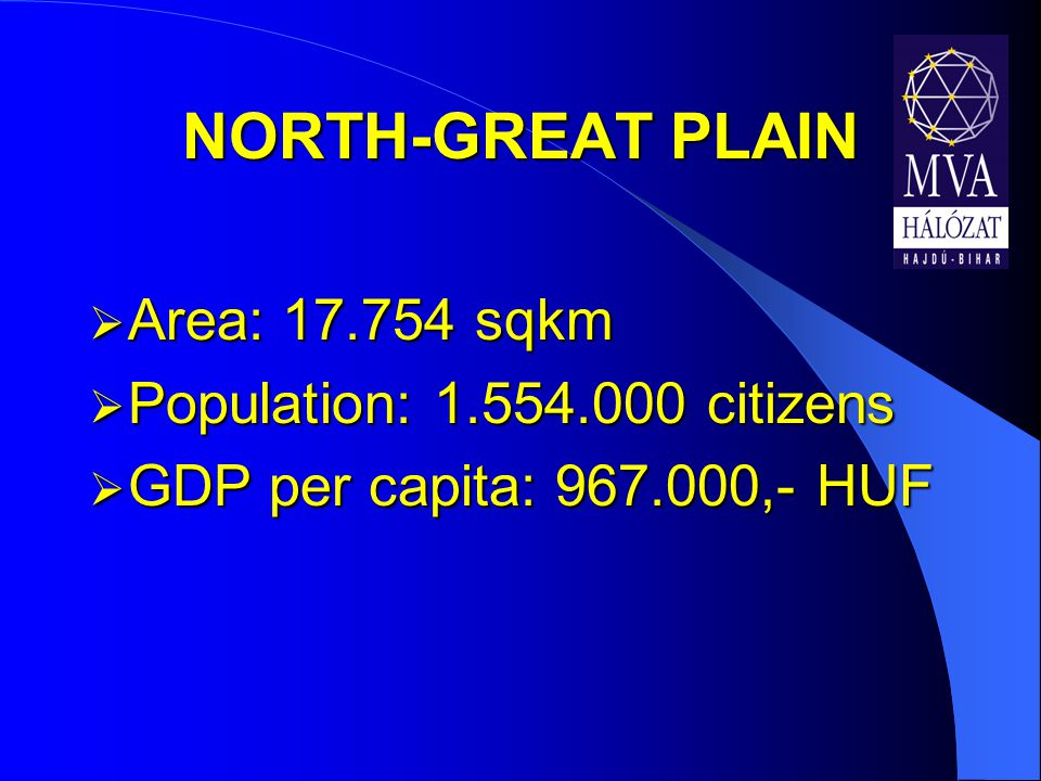  Area: 17.754 sqkm  Population: 1.554.000 citizens  GDP per capita: 967.000,- HUF