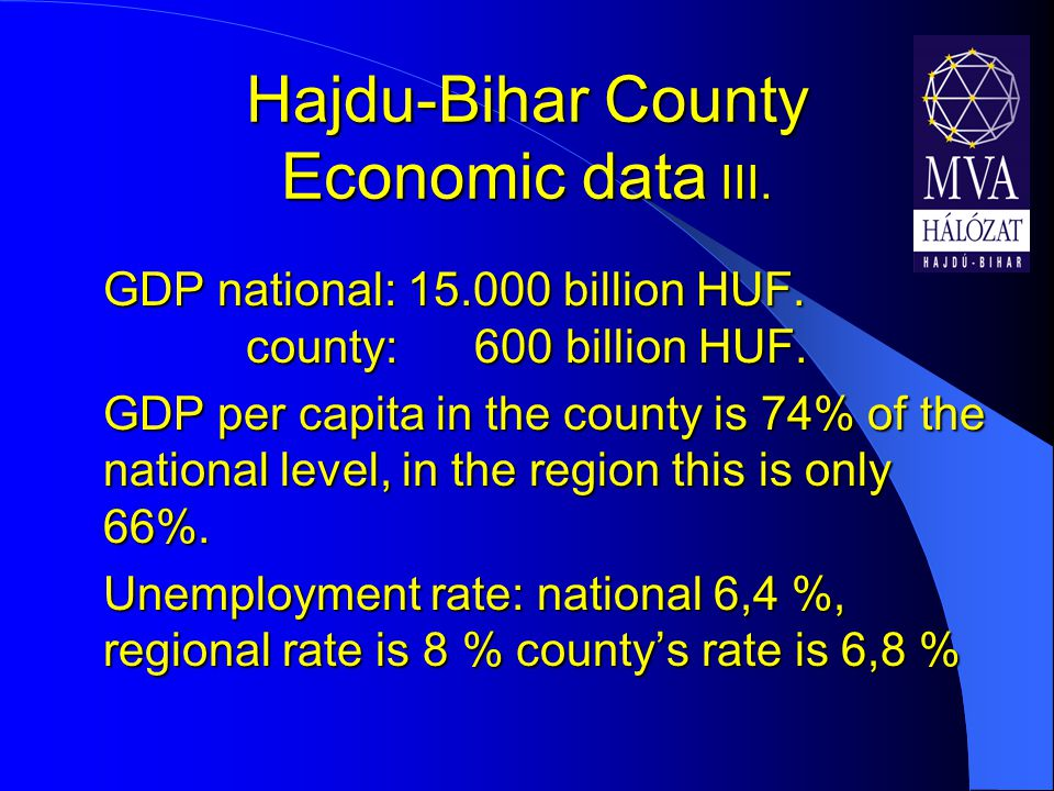Hajdu-Bihar County Economic data III. GDP national: 15.000 billion HUF.