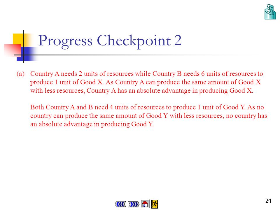 23 Progress Checkpoint 2 Q19.5 The following table shows the resources requirement per unit of output of Country A and B: Good X (units)Good Y (units) Country A24 Country B64 Explain which country has (a) an absolute advantage (b) a comparative advantage in producing Good X and Good Y respectively