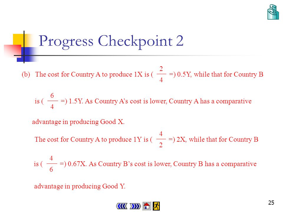 24 Progress Checkpoint 2 (a)Country A needs 2 units of resources while Country B needs 6 units of resources to produce 1 unit of Good X.