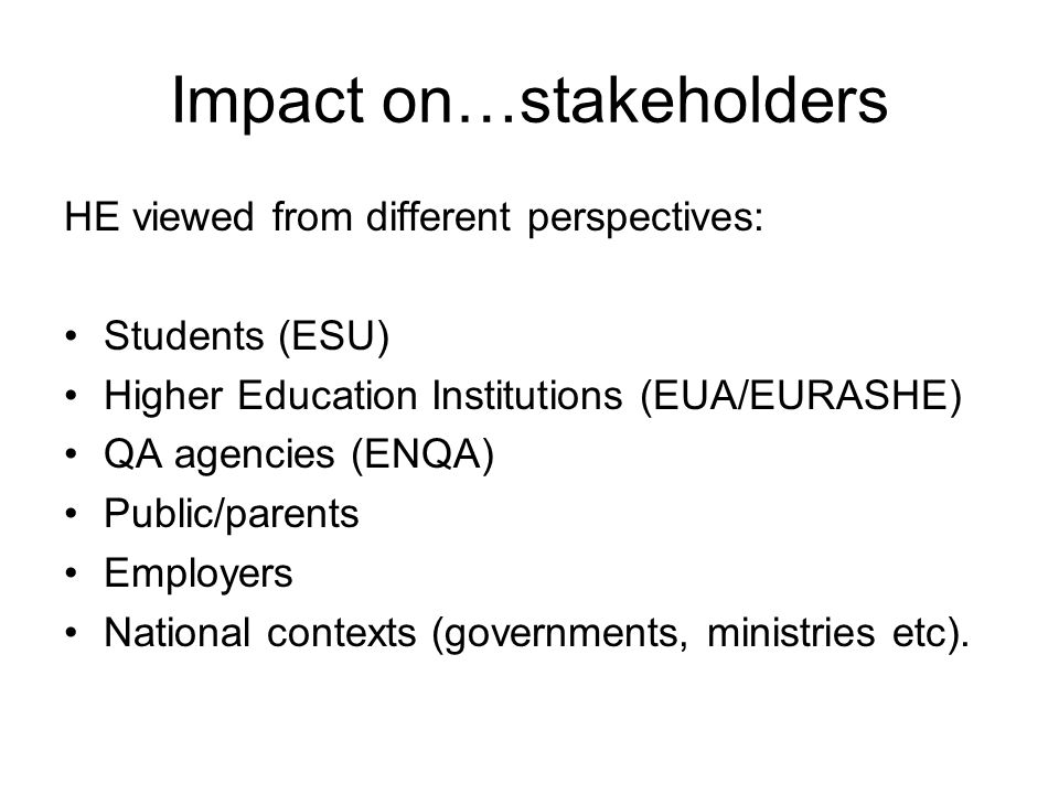 Impact on policies/the work that we do Need for changing curricula.