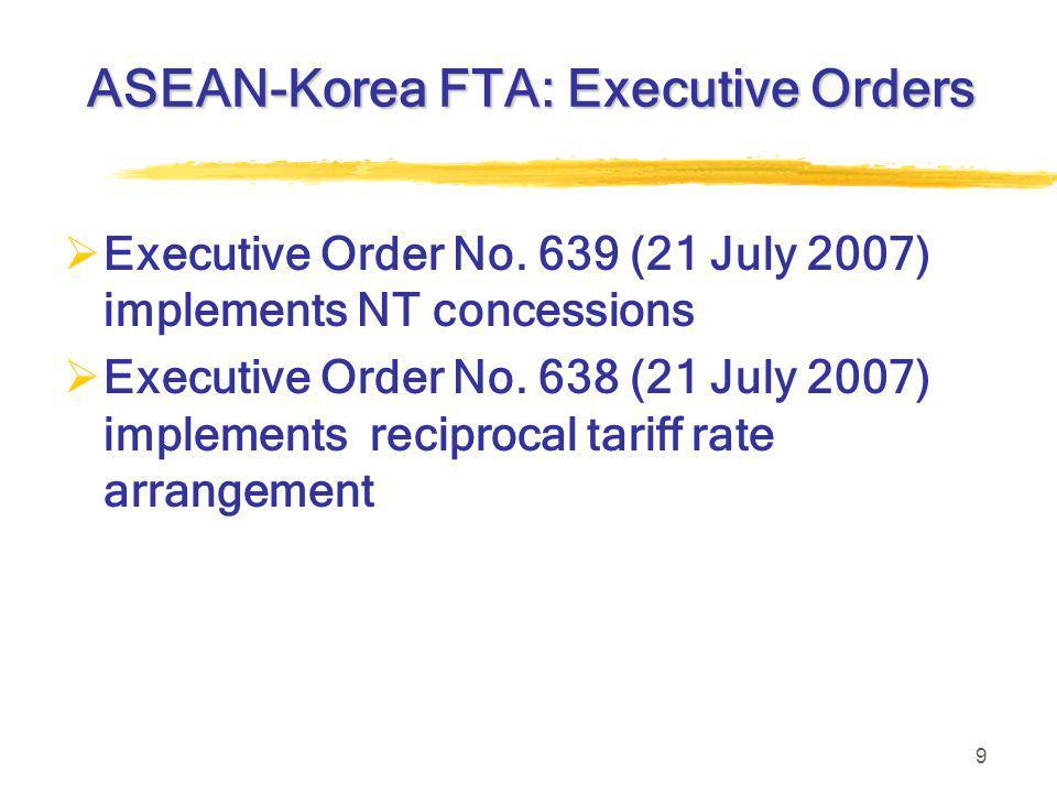 9 ASEAN-Korea FTA: Executive Orders  Executive Order No.