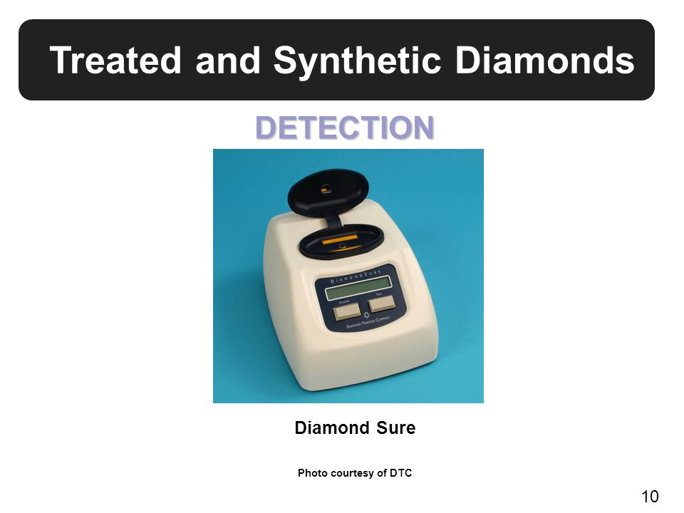 Treated and Synthetic Diamonds Diamond Sure Photo courtesy of DTC DETECTION 10