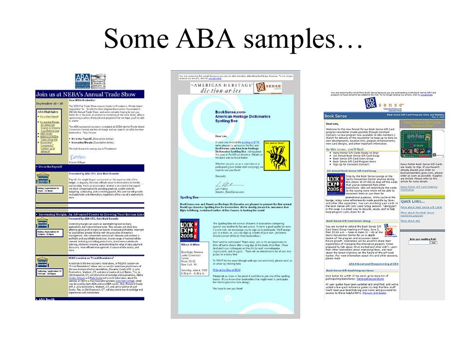 Some ABA samples…