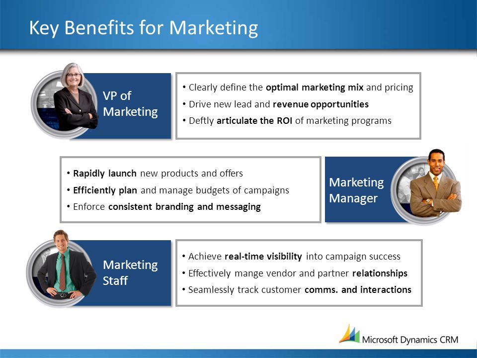 Key Benefits for Marketing Clearly define the optimal marketing mix and pricing Drive new lead and revenue opportunities Deftly articulate the ROI of