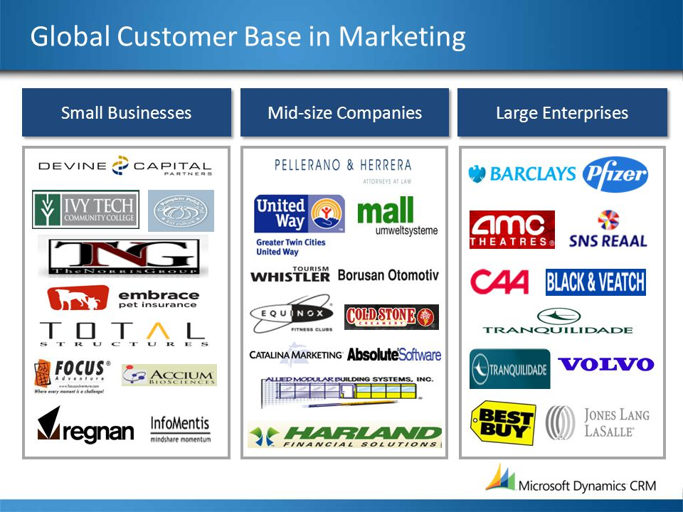 Mid-size Companies Small Businesses Large Enterprises Global Customer Base in Marketing