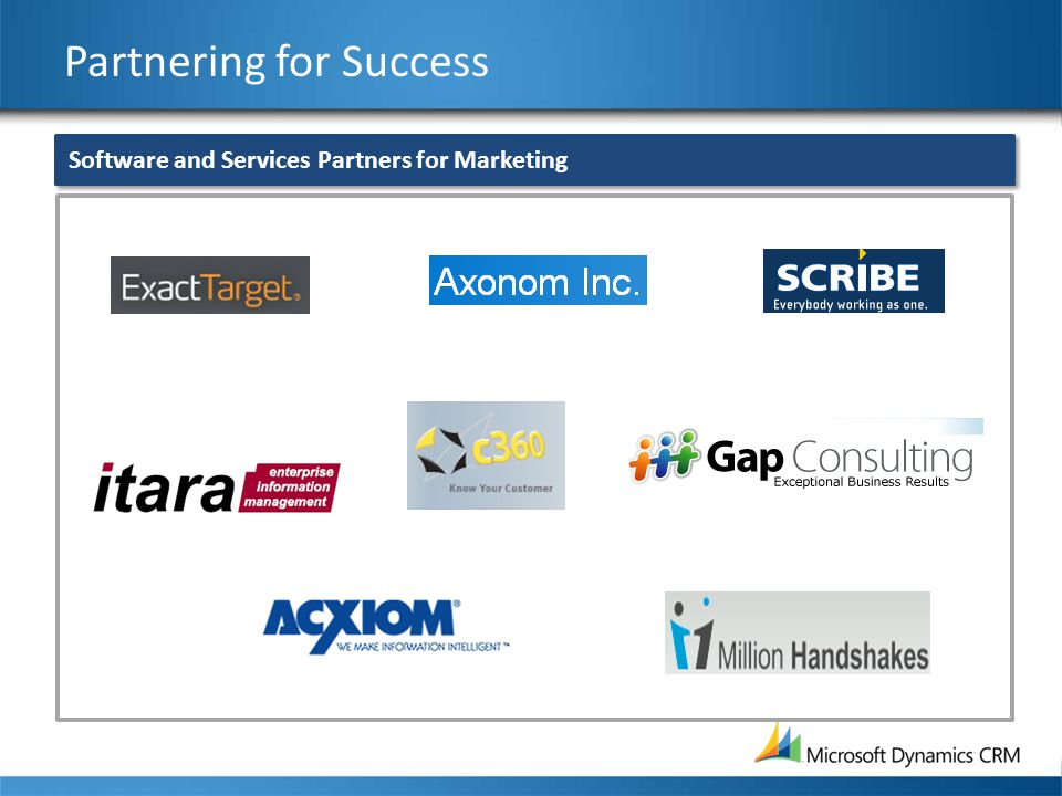 Partnering for Success Software and Services Partners for Marketing