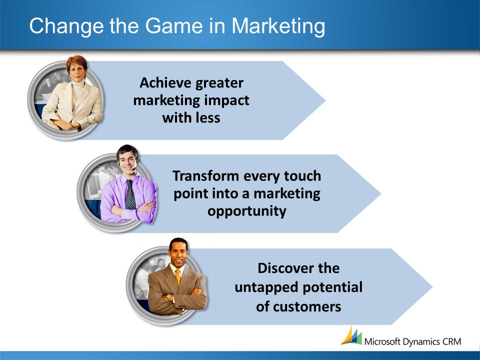 Achieve greater marketing impact with less Change the Game in Marketing Transform every touch point into a marketing opportunity Discover the untapped