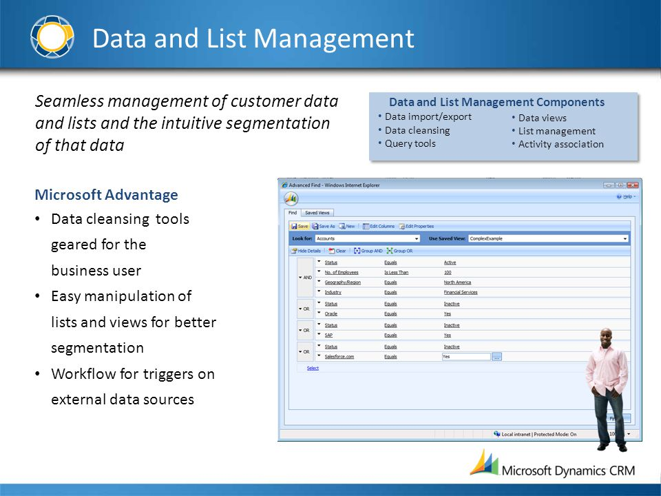Data and List Management Seamless management of customer data and lists and the intuitive segmentation of that data Microsoft Advantage Data cleansing