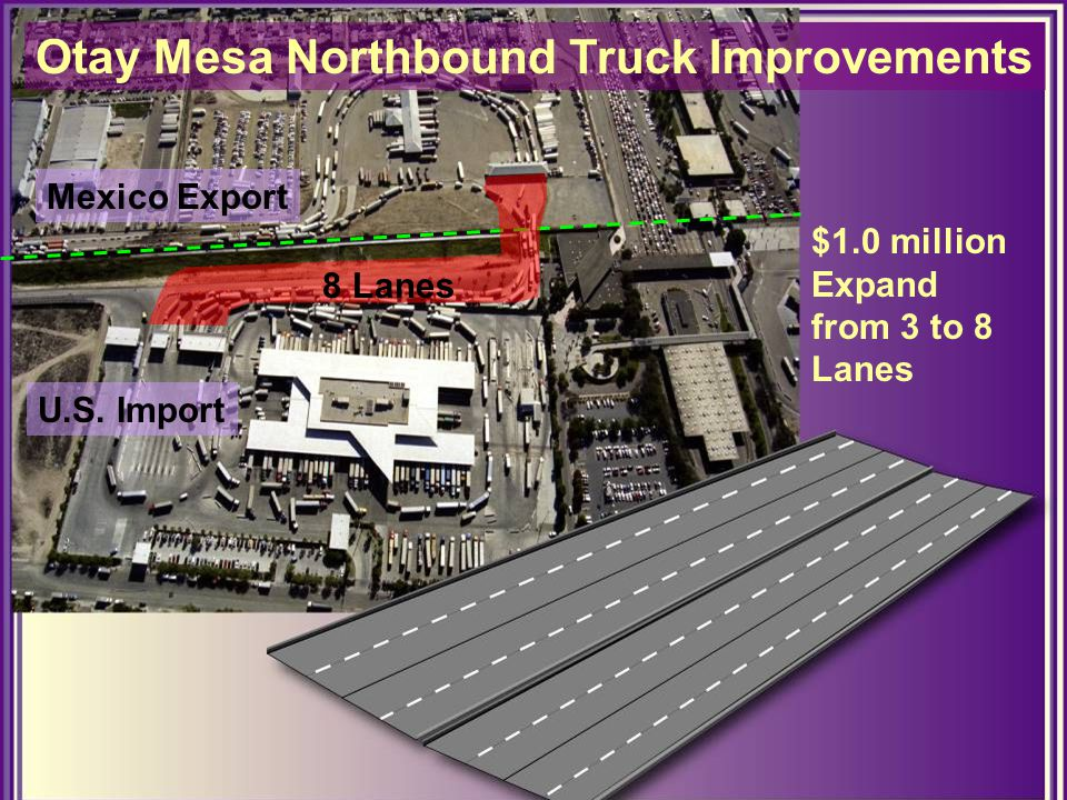 Otay Mesa Northbound Truck Improvements $1.0 million Expand from 3 to 8 Lanes Mexico Export U.S.