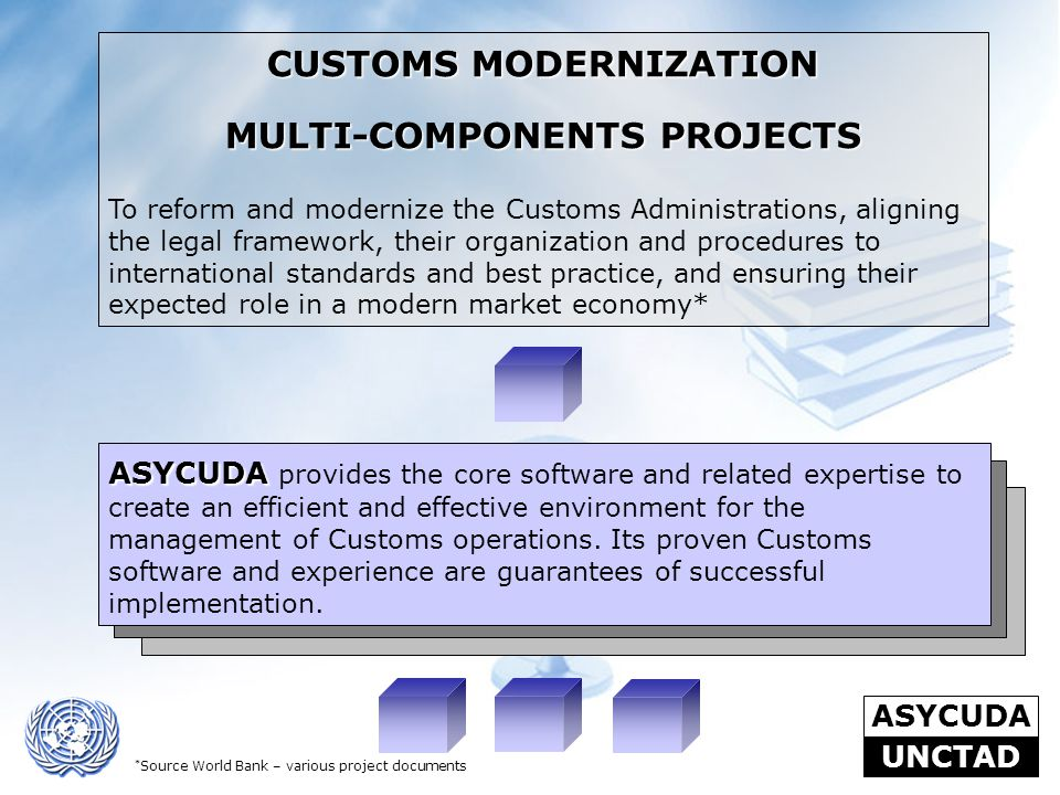 ASYCUDA UNCTAD CUSTOMS MODERNIZATION MULTI-COMPONENTS PROJECTS To reform and modernize the Customs Administrations, aligning the legal framework, thei
