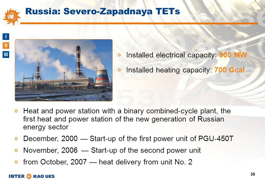 I II III 39 Installed electrical capacity: 900 MW Installed heating capacity: 700 Gcal Russia: Severo-Zapadnaya TETs Heat and power station with a bin