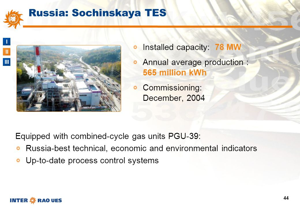 I II III 44 Russia: Sochinskaya TES Equipped with combined-cycle gas units PGU-39: Russia-best technical, economic and environmental indicators Up-to-