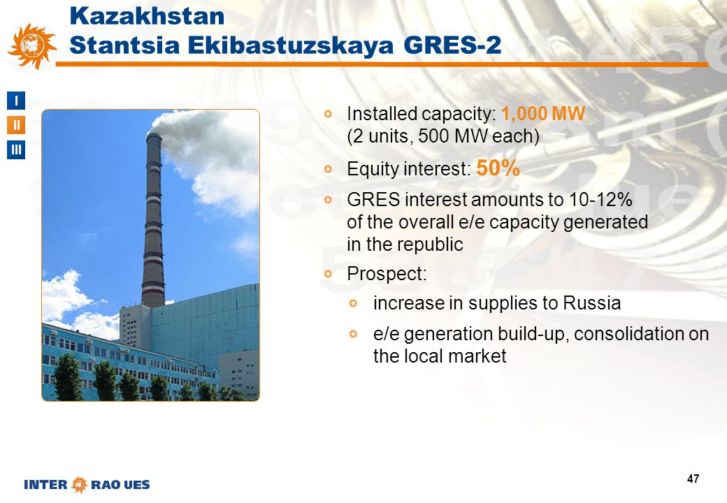 I II III 47 Installed capacity: 1,000 MW (2 units, 500 MW each) Equity interest: 50% GRES interest amounts to 10-12% of the overall e/e capacity gener