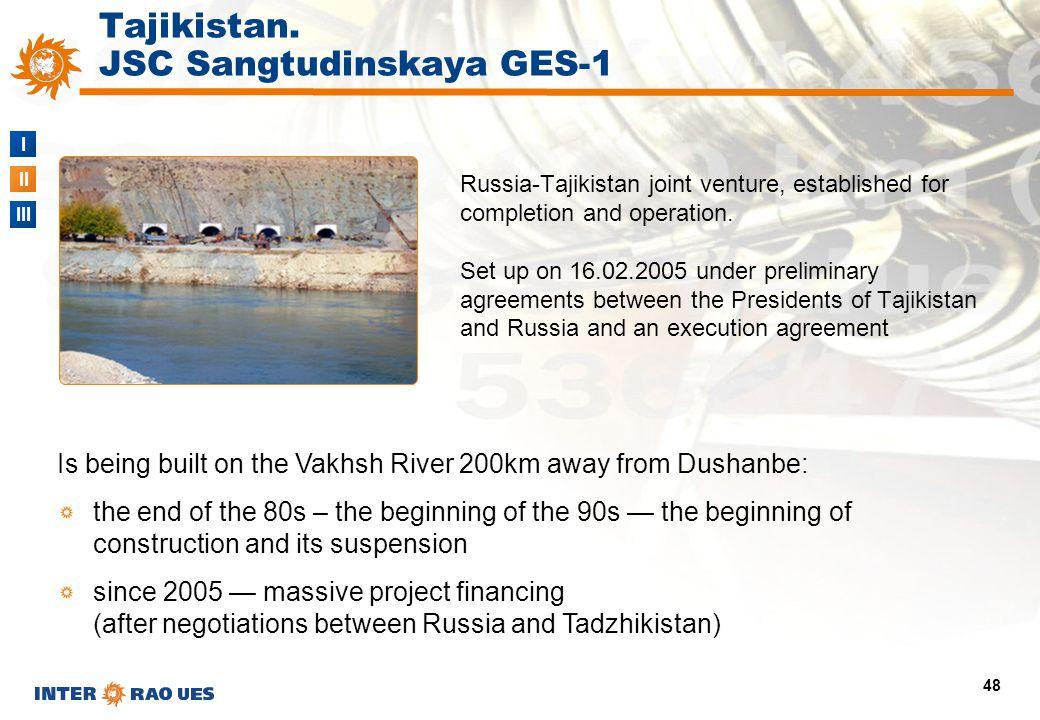 I II III 48 Tajikistan. JSC Sangtudinskaya GES-1 Russia-Tajikistan joint venture, established for completion and operation. Set up on 16.02.2005 under