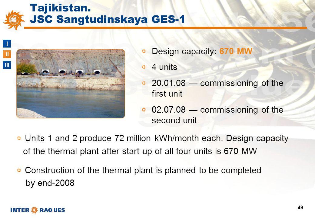 I II III 49 Tajikistan. JSC Sangtudinskaya GES-1 Design capacity: 670 MW 4 units 20.01.08 — commissioning of the first unit 02.07.08 — commissioning o