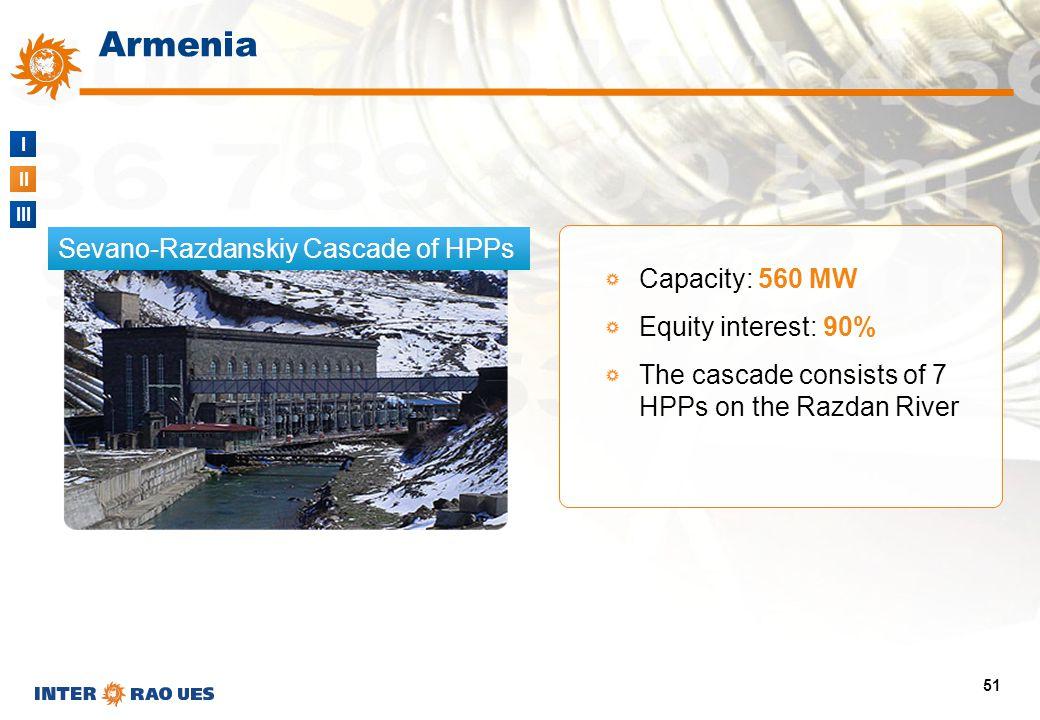 I II III 51 Sevano-Razdanskiy Cascade of HPPs Armenia Capacity: 560 MW Equity interest: 90% The cascade consists of 7 HPPs on the Razdan River