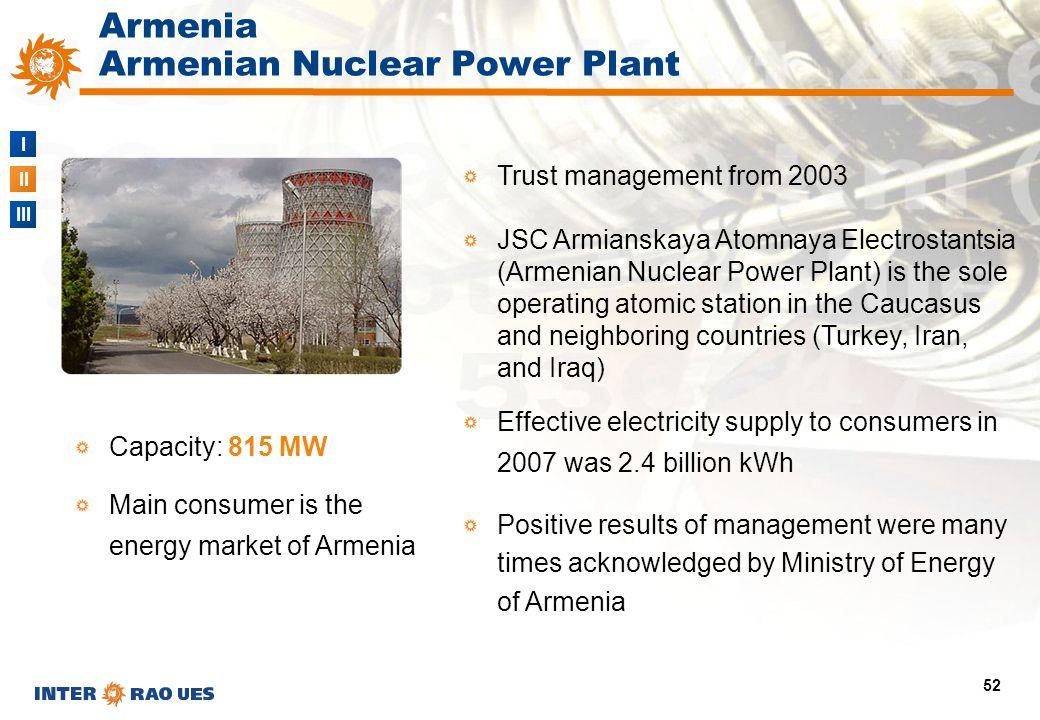 I II III 52 Trust management from 2003 JSC Armianskaya Atomnaya Electrostantsia (Armenian Nuclear Power Plant) is the sole operating atomic station in