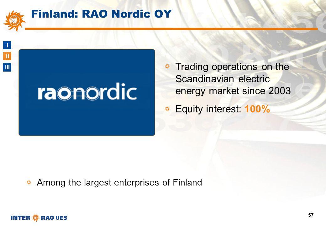 I II III 57 Finland: RAO Nordic OY Trading operations on the Scandinavian electric energy market since 2003 Equity interest: 100% Among the largest en
