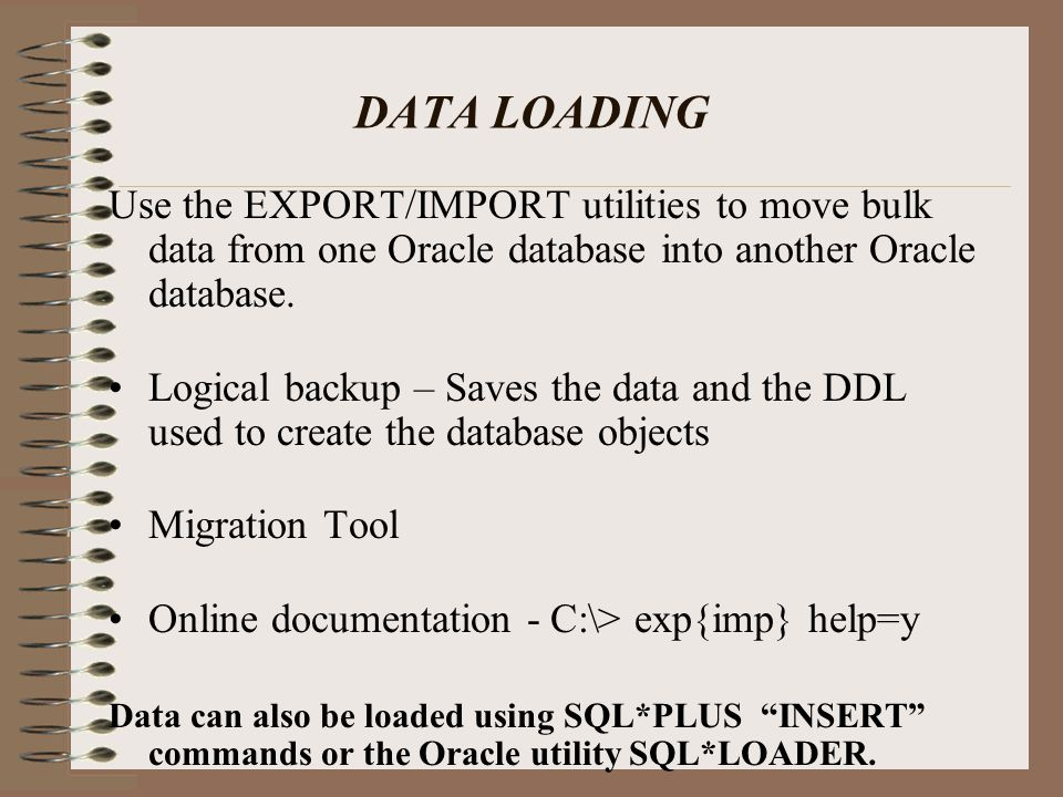 DATA LOADING Types Of Exports.
