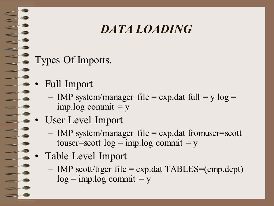 DATA LOADING cont.