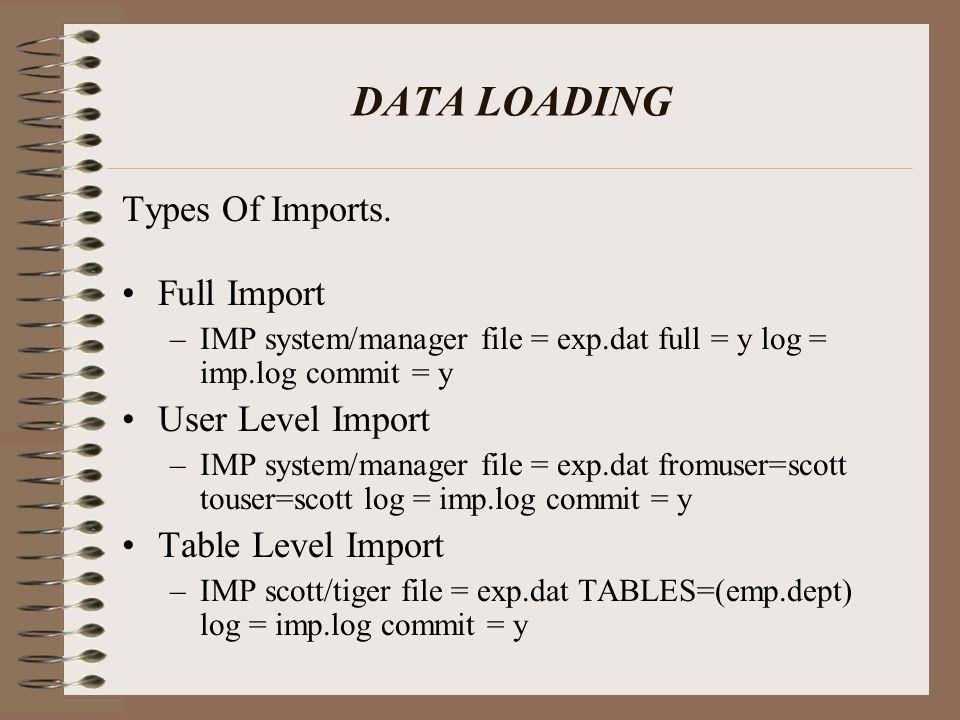 DATA LOADING Types Of Imports. Full Import –IMP system/manager file = exp.dat full = y log = imp.log commit = y User Level Import –IMP system/manager