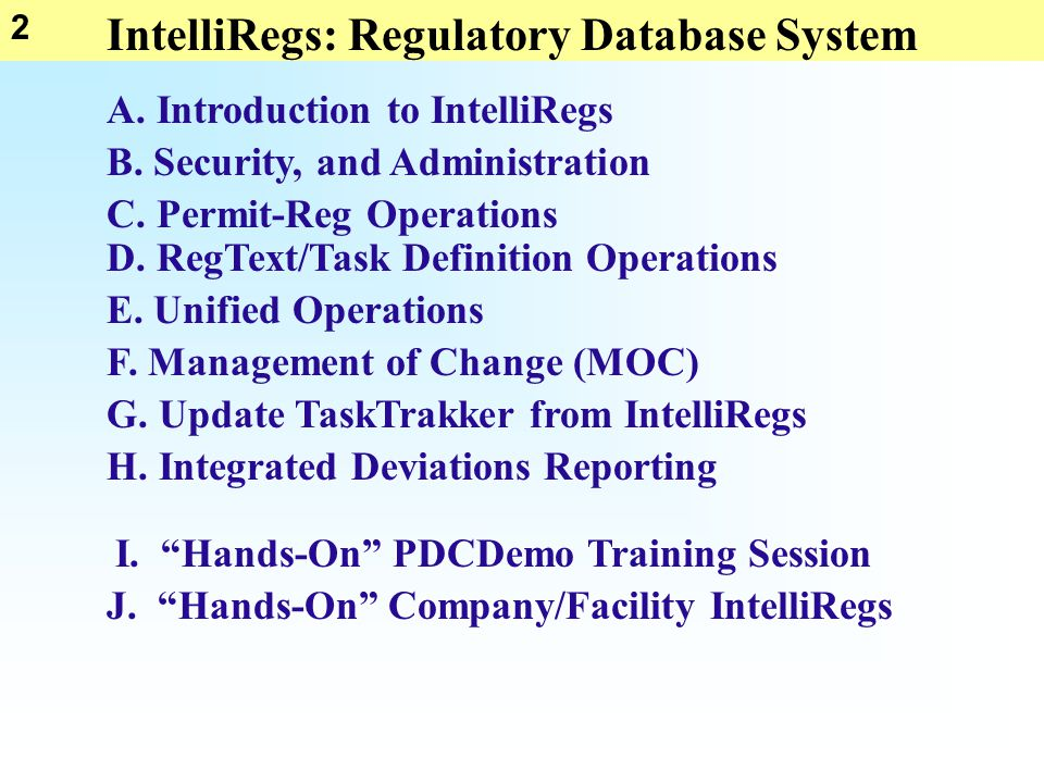 2 IntelliRegs: Regulatory Database System B. Security, and Administration C. Permit-Reg Operations D. RegText/Task Definition Operations E. Unified Op