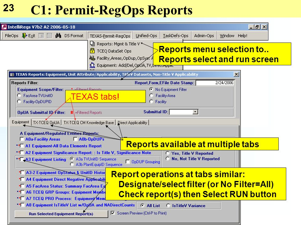 23 C1: Permit-RegOps Reports Reports menu selection to..