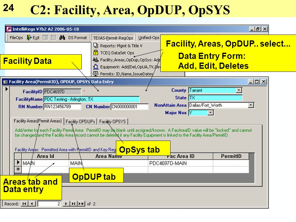 24 C2: Facility, Area, OpDUP, OpSYS Facility, Areas, OpDUP..