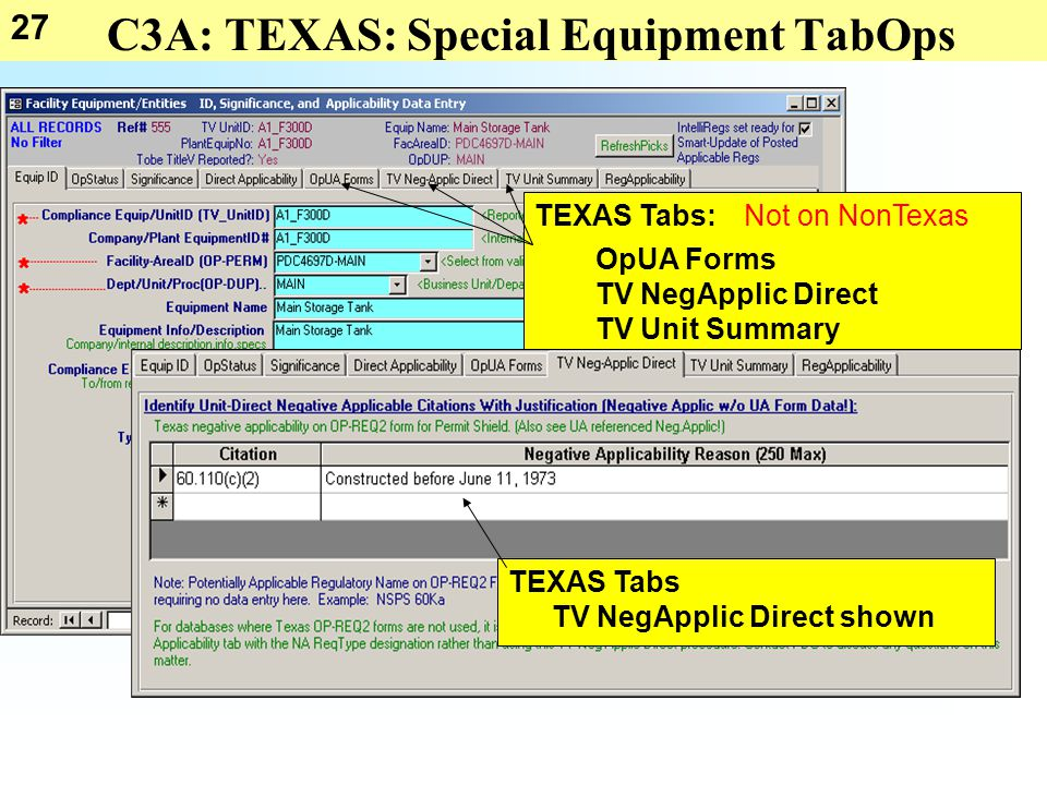 27 C3A: TEXAS: Special Equipment TabOps TEXAS Tabs: OpUA Forms TV NegApplic Direct TV Unit Summary Not on NonTexas TEXAS Tabs TV NegApplic Direct show