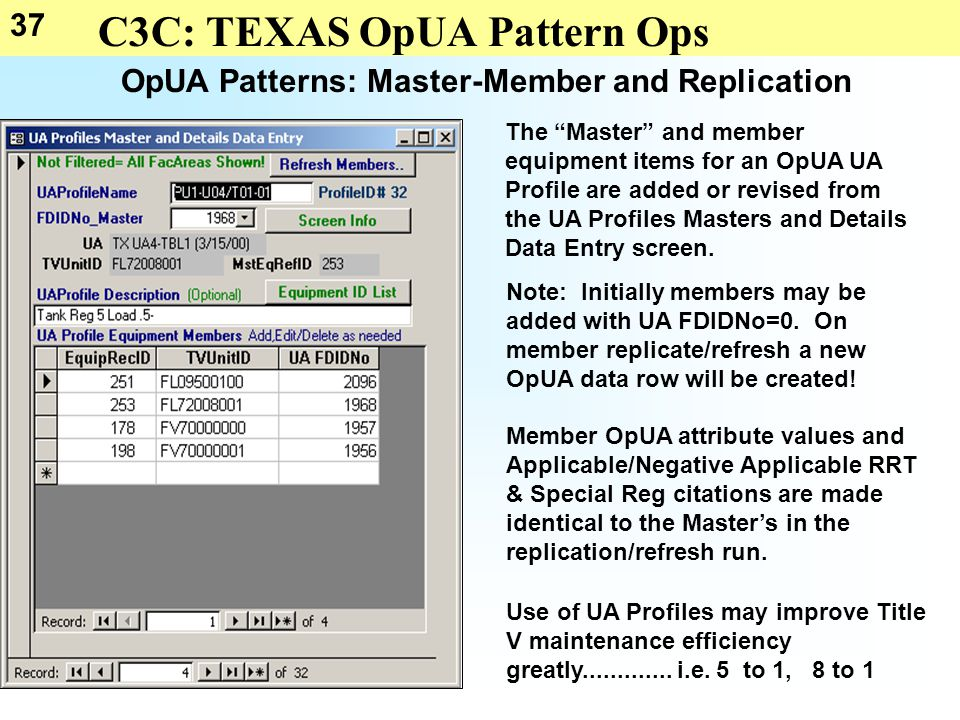 37 C3C: TEXAS OpUA Pattern Ops OpUA Patterns: Master-Member and Replication The Master and member equipment items for an OpUA UA Profile are added or revised from the UA Profiles Masters and Details Data Entry screen.