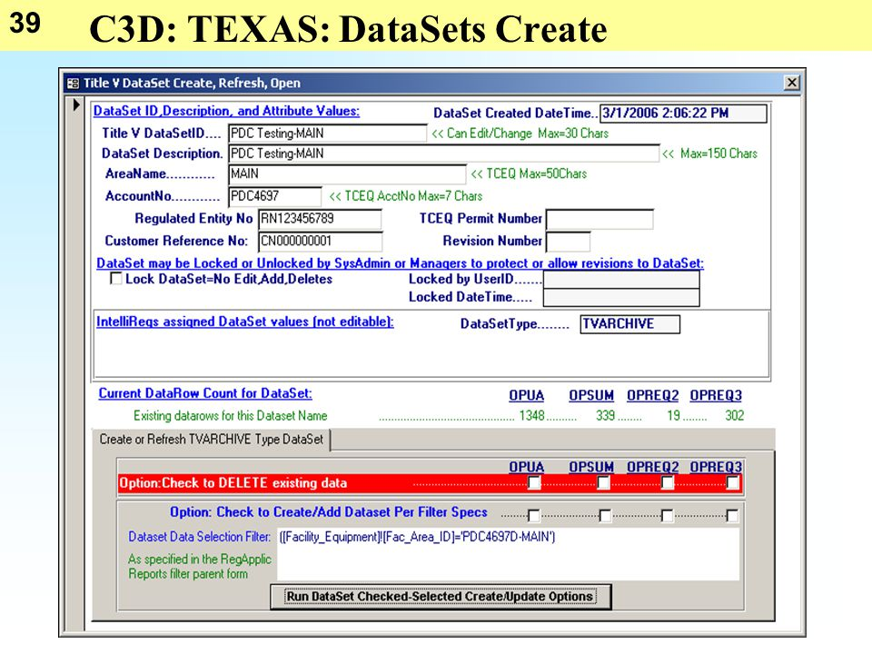 39 C3D: TEXAS: DataSets Create