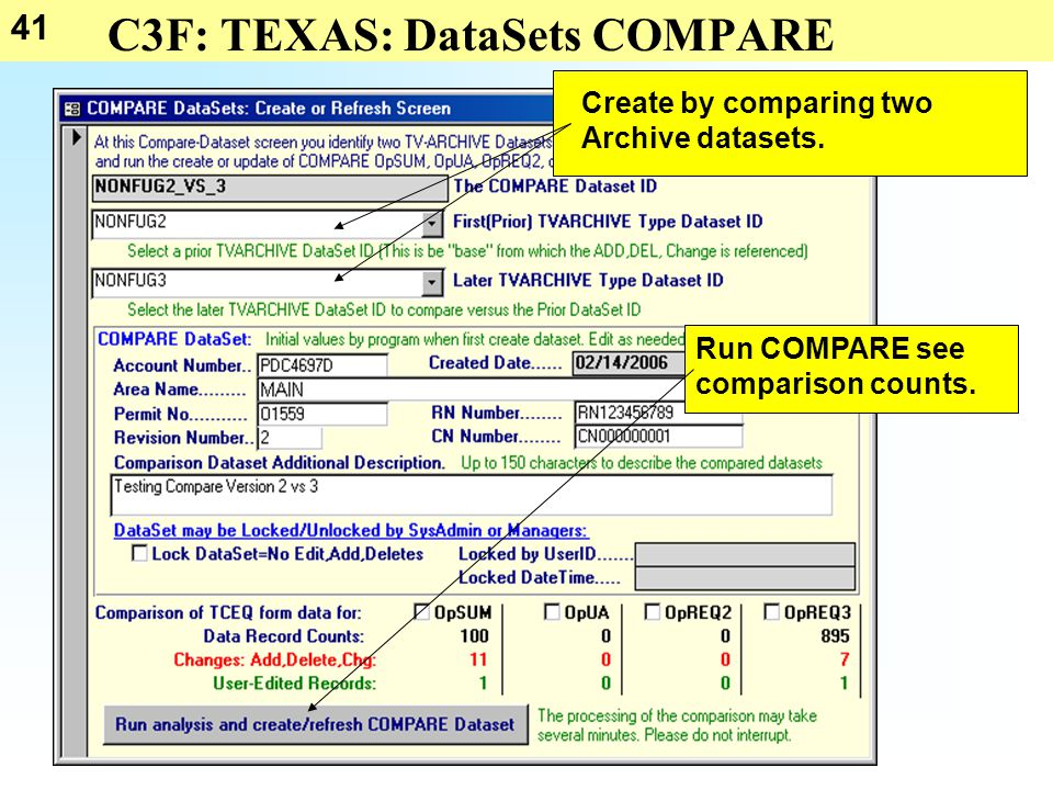 41 C3F: TEXAS: DataSets COMPARE Create by comparing two Archive datasets.