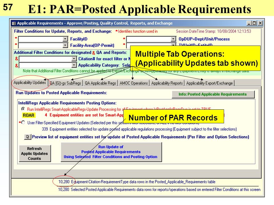 57 E1: PAR=Posted Applicable Requirements Multiple Tab Operations: (Applicability Updates tab shown) Number of PAR Records