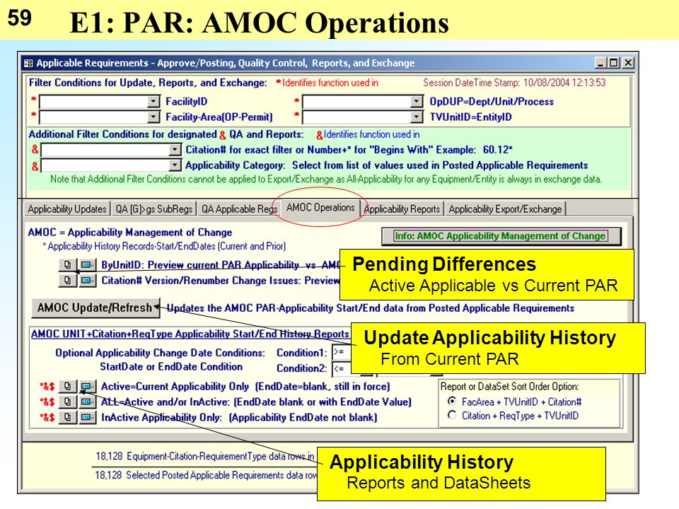 59 E1: PAR: AMOC Operations Pending Differences Applicability History Reports and DataSheets Active Applicable vs Current PAR Update Applicability His