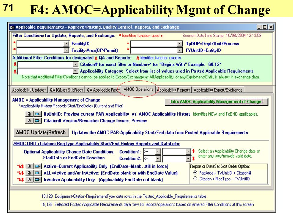 71 F4: AMOC=Applicability Mgmt of Change
