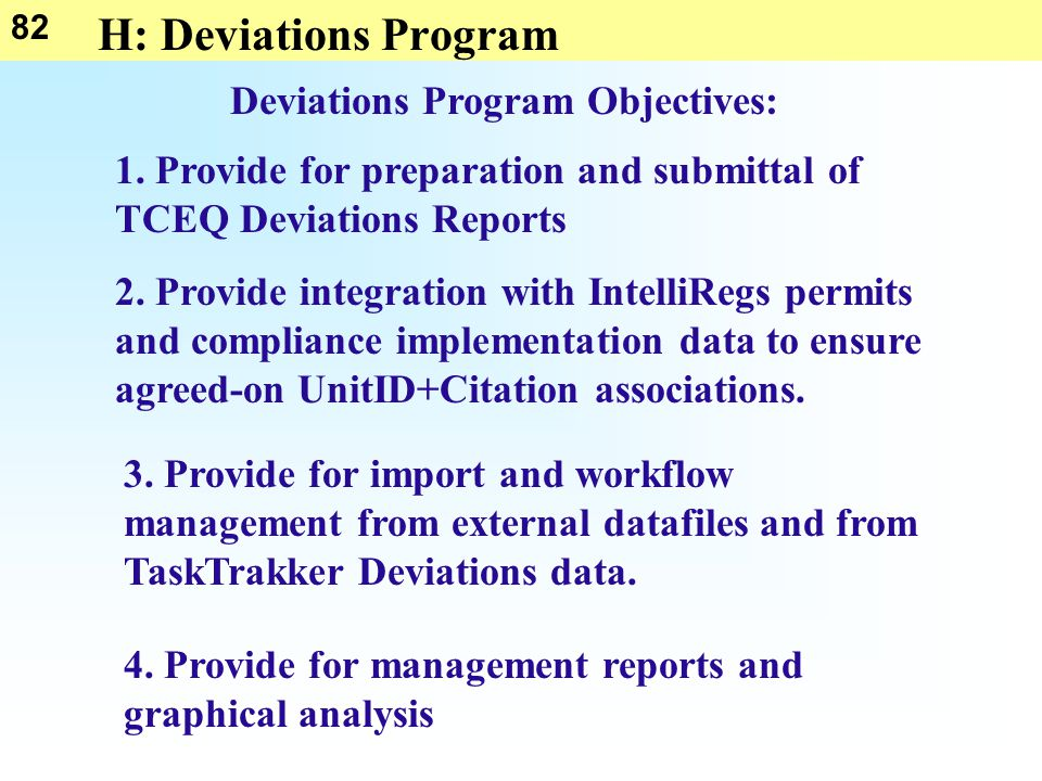 82 H: Deviations Program Deviations Program Objectives: 1.