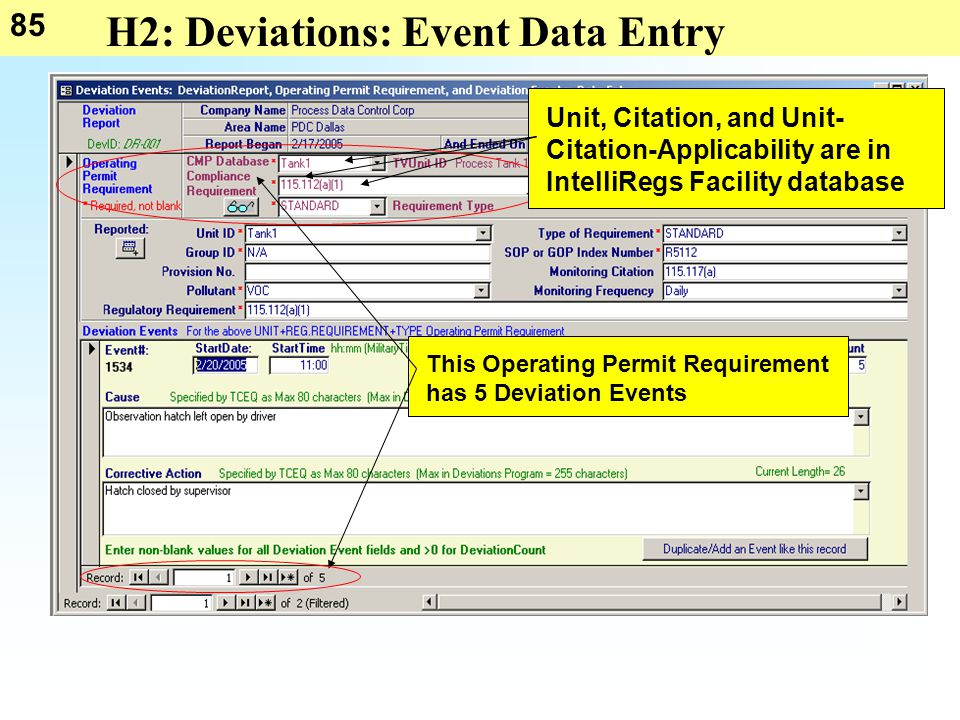 85 H2: Deviations: Event Data Entry This Operating Permit Requirement has 5 Deviation Events Unit, Citation, and Unit- Citation-Applicability are in I