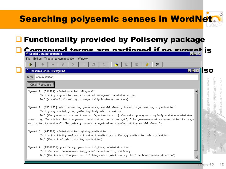 15-ene-1512 Searching polysemic senses in WordNet  Functionality provided by Polisemy package  Compound terms are partioned if no synset is found  If adjectives found, associated nouns are also searched to reduce number of not-found words