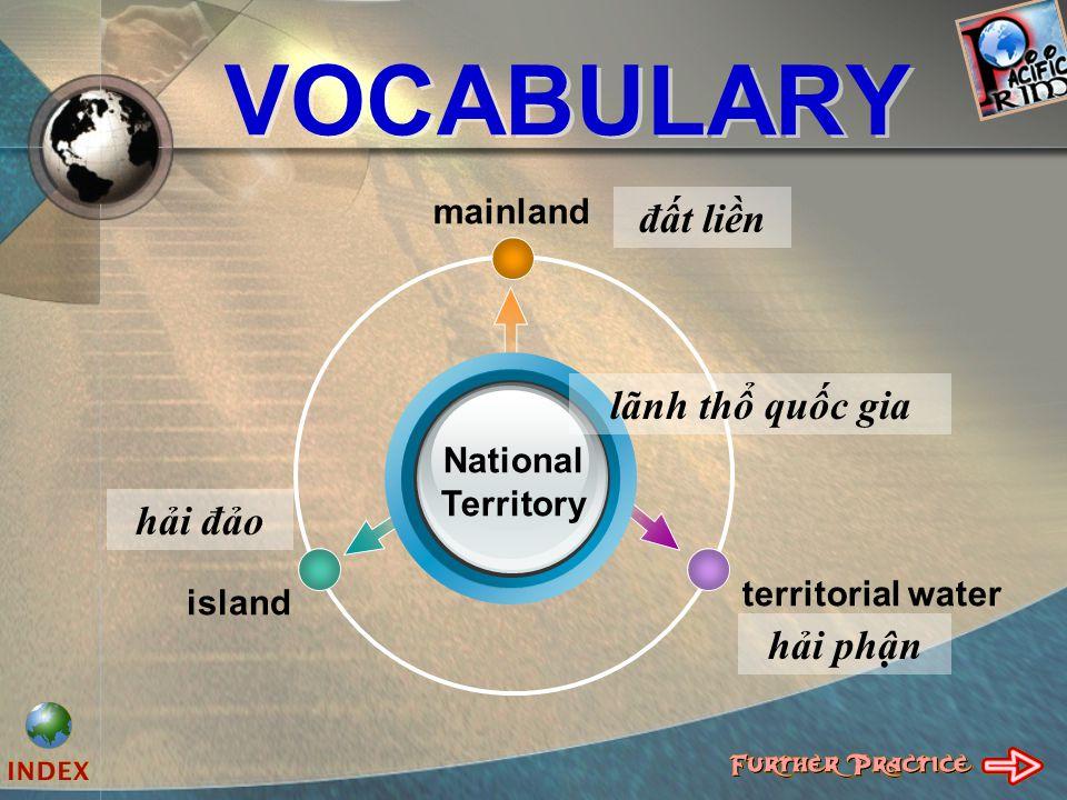 VOCABULARY mainland territorial water island National Territory đất liền lãnh thổ quốc gia hải đảo hải phận