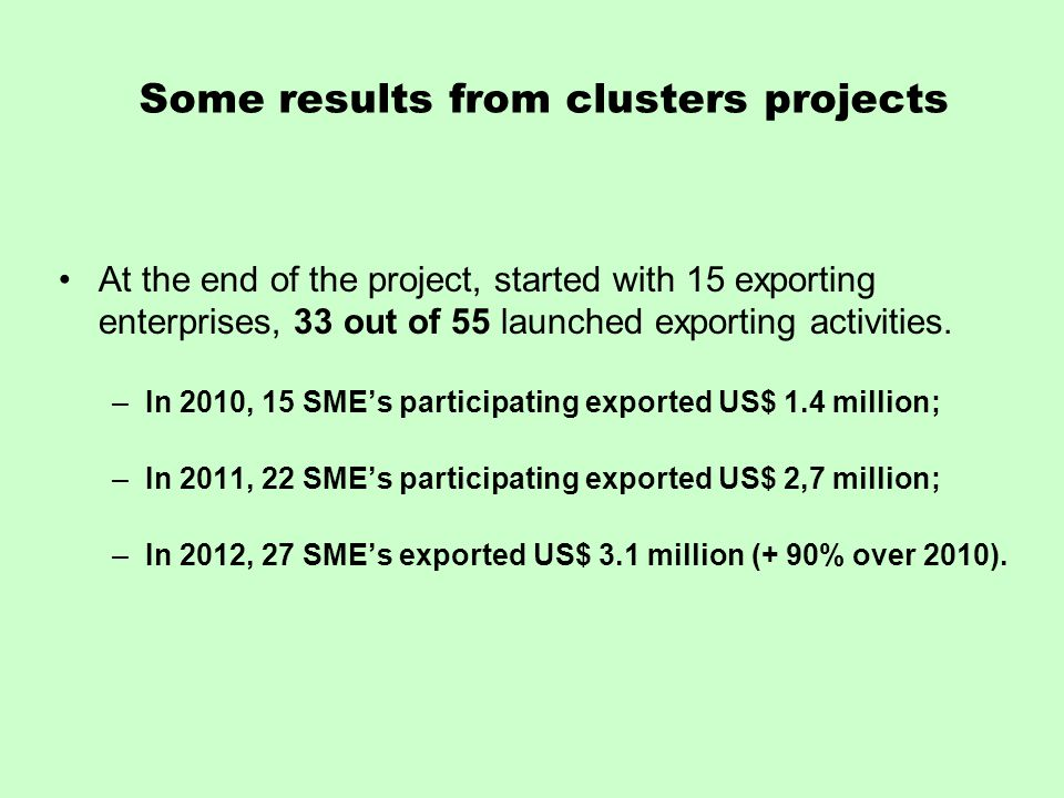 Some results from clusters projects At the end of the project, started with 15 exporting enterprises, 33 out of 55 launched exporting activities.