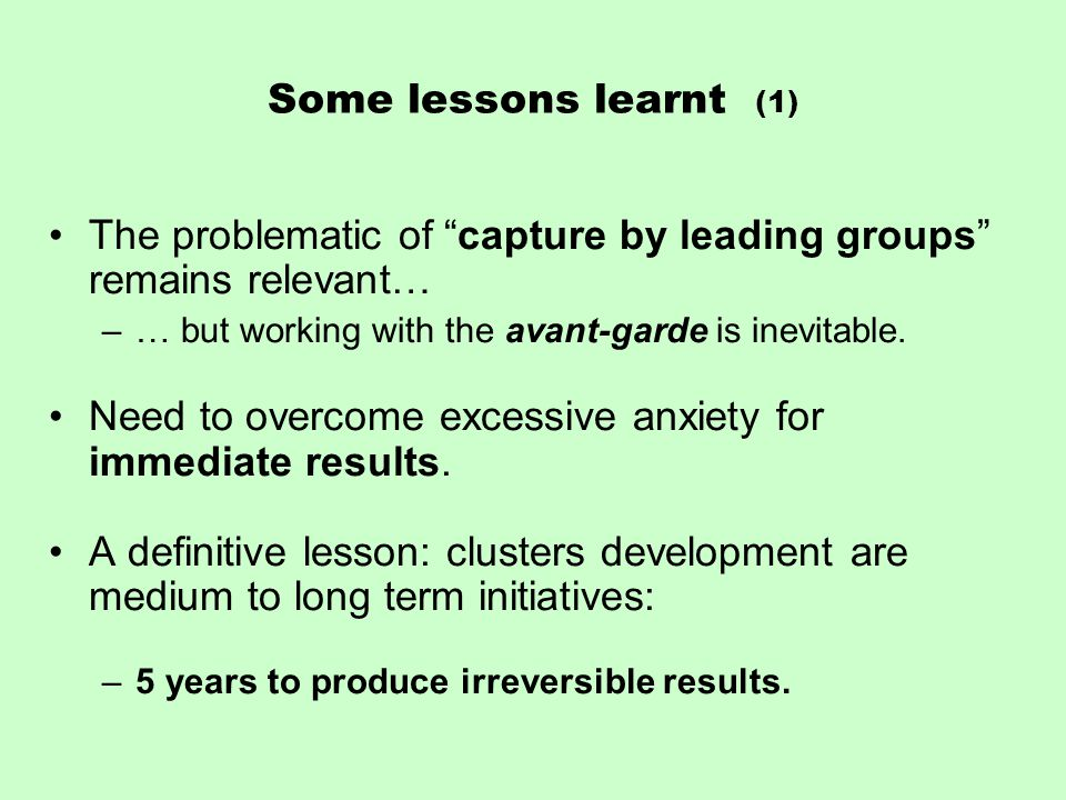 Some lessons learnt (1) The problematic of capture by leading groups remains relevant… –… but working with the avant-garde is inevitable.