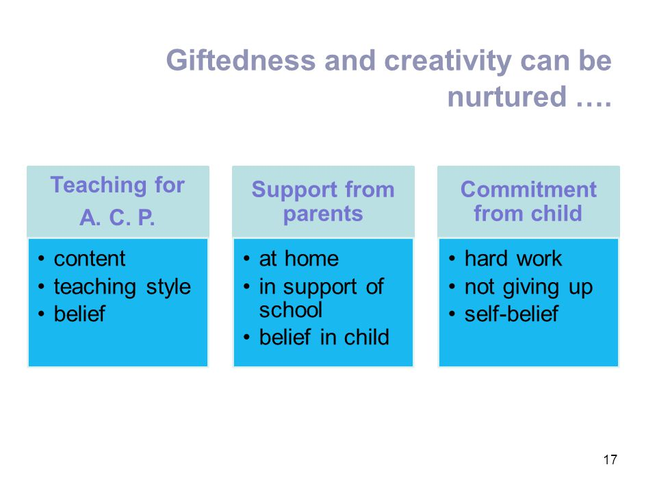 Giftedness and creativity can be nurtured …. 17