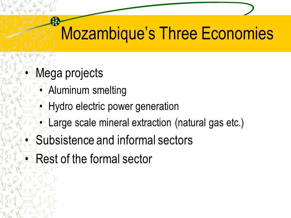 Mozambique's Three Economies Mega projects Aluminum smelting Hydro electric power generation Large scale mineral extraction (natural gas etc.) Subsistence and informal sectors Rest of the formal sector