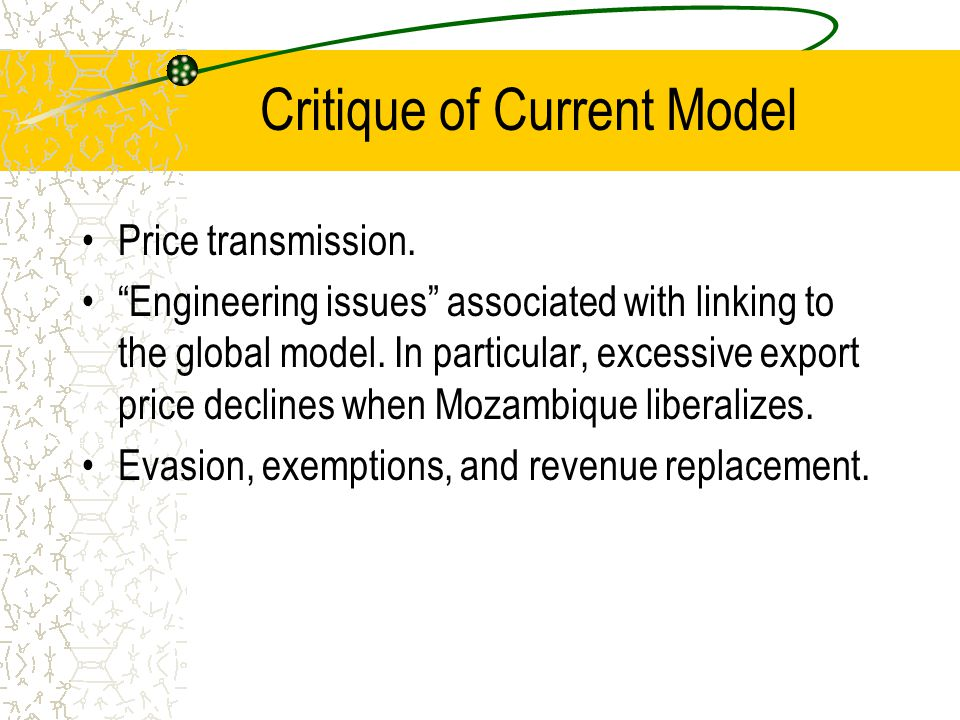 Critique of Current Model Price transmission.