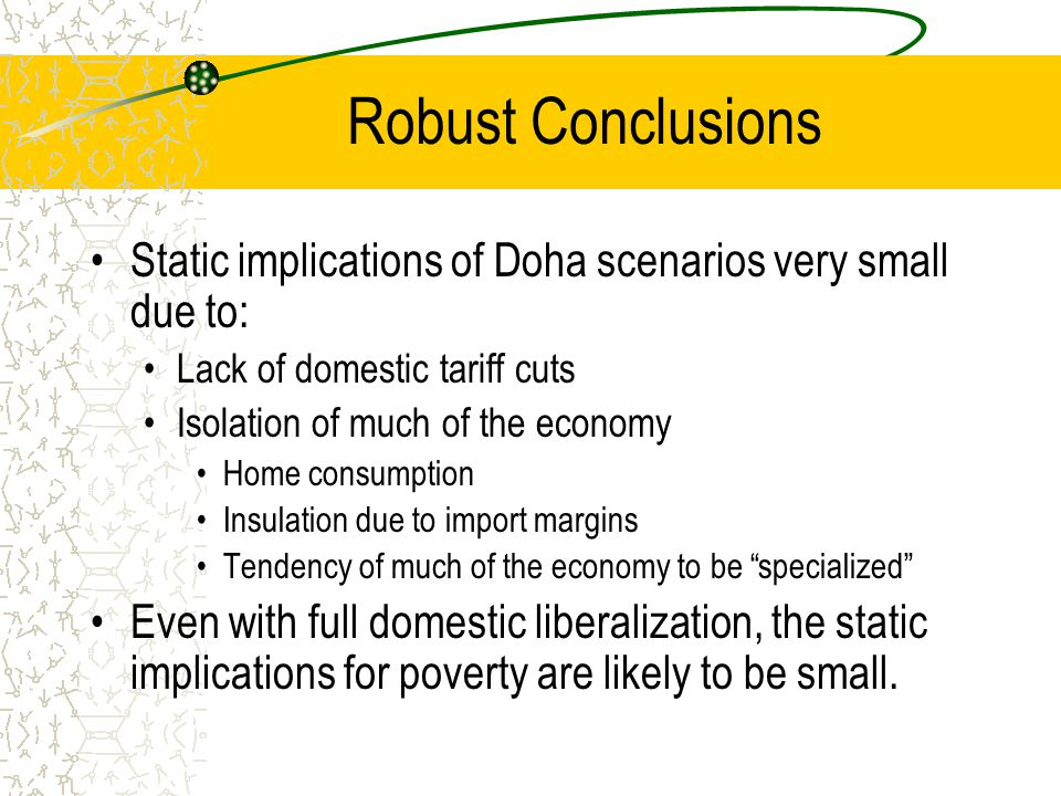 Robust Conclusions Static implications of Doha scenarios very small due to: Lack of domestic tariff cuts Isolation of much of the economy Home consumption Insulation due to import margins Tendency of much of the economy to be specialized Even with full domestic liberalization, the static implications for poverty are likely to be small.