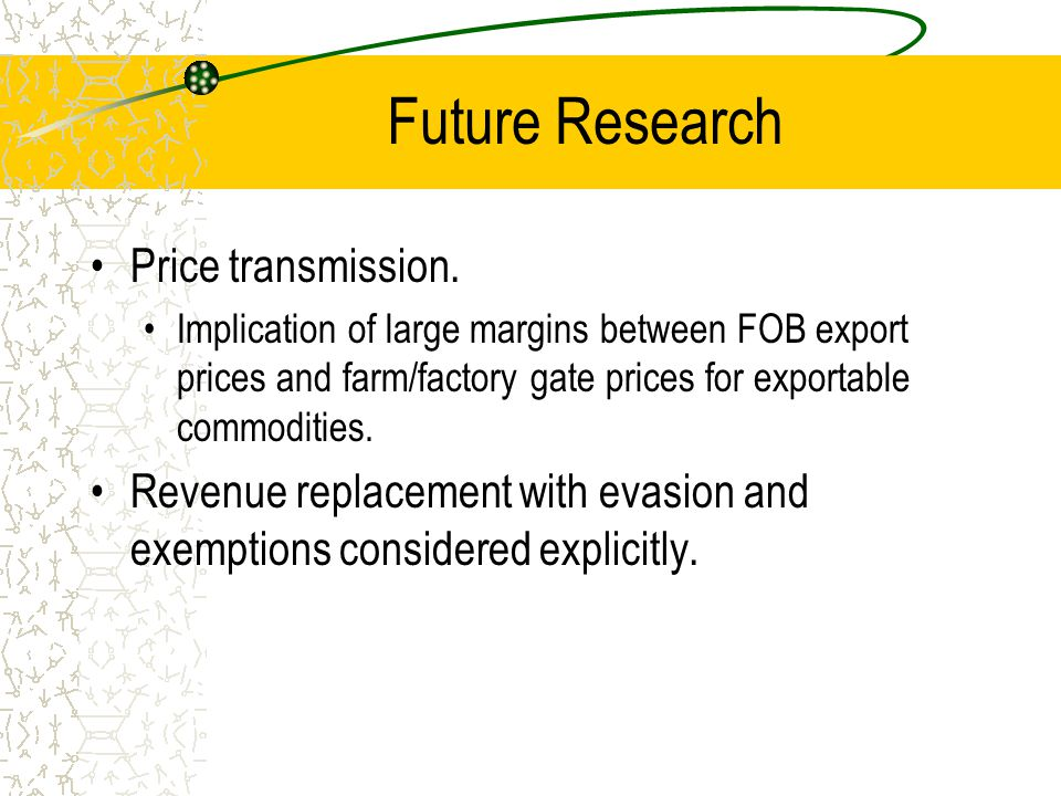 Future Research Price transmission.